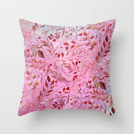Gorgeous Red Flourish in Glamour Pink Throw Pillow