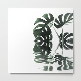 Monstera Leaves Reflecting In Water Minimalist Tropical Style Metal Print