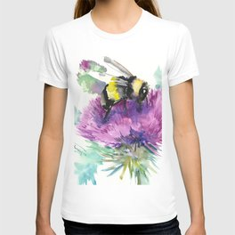 Bumblebee and Thistle Flower, honey bee floral T-shirt