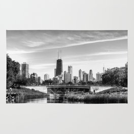 The Chicago Skyline - Lincoln Park B&W Rug