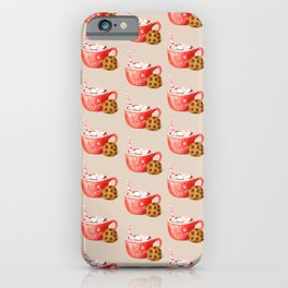 Hot Cocoa Mug and a Chocolate Chip Cookie, Retro Christmas Sweets Pattern, Hand-painted Watercolor iPhone Case