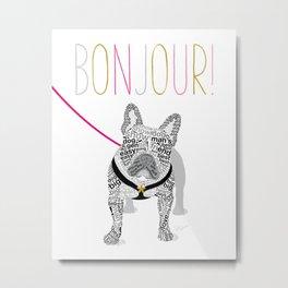 Typographic French Bulldog Metal Print