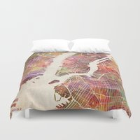 new york map Duvet Covers featuring New York Map Watercolor by Map Map Maps