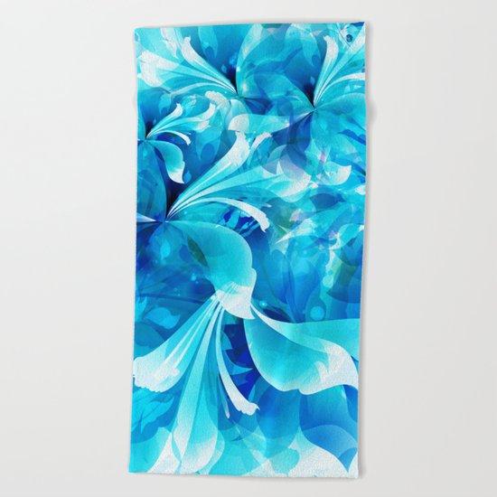 Stylized flowers in blue Beach Towel
