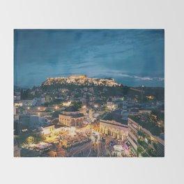 Athens Greece at Dusk Throw Blanket