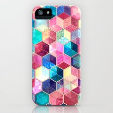 Topaz & Ruby Crystal Honeycomb Cubes iPhone (5, 5s) Slim Case