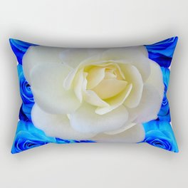 DECORATIVE WHITE & BLUE ROSES GARDEN ART Rectangular Pillow