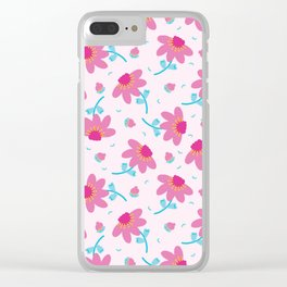 Bright summer daisy flower bloom seamless pattern. Clear iPhone Case