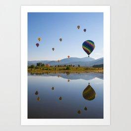 Hot air balloons reflection in lake Art Print