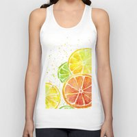fruit Tank Tops featuring Fruit Watercolor by Olechka