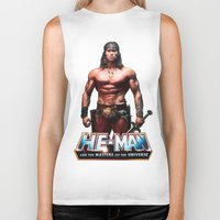 he man Biker Tanks featuring He-Man by MartiniWithATwist