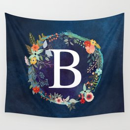 Personalized Monogram Initial Letter B Floral Wreath Artwork Wall Tapestry
