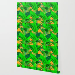 BRIGHT GREEN & GOLD TROPICAL FOLIAGE ART Wallpaper