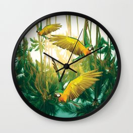 Palm Trees and Parrots Wall Clock