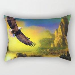 Eagle in Desert Sunset (Color) Rectangular Pillow