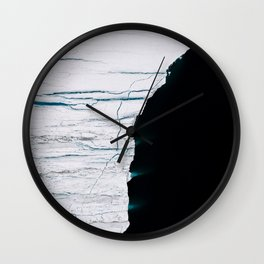 Black and White - Abstract minimal Iceberg aerial view in Greenland - Landscape Photography Wall Clock