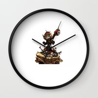 league Wall Clocks featuring League of Legends Ziggs by Joel Cumpson