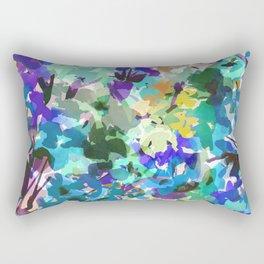Ocean Blue Wildflowers Rectangular Pillow