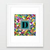 monogram Framed Art Prints featuring D Monogram by mailboxdisco