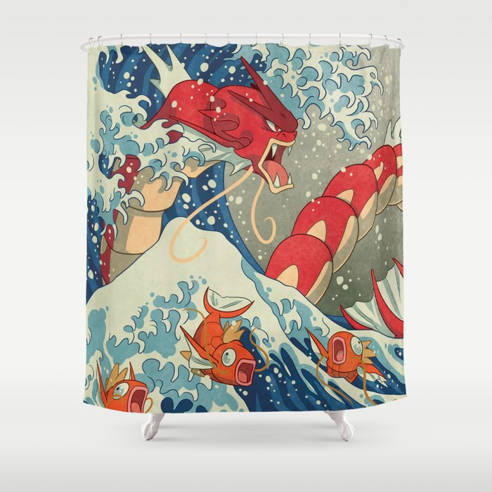 The Great Red Wave Shower Curtain by zimmay | Society6