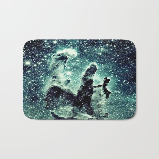 Nebula Galaxy : Teal Pillars of Creation Bath Mat