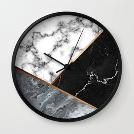 Elegant Silver Marble with Bronze Lining Wall Clock