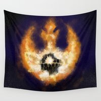 death star Wall Tapestries featuring Death Star Destruction by Wharton