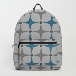 Mid Century Modern Star Pattern Grey and Blue Backpack