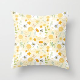 Honey Bees and Buttercups Throw Pillow