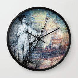 Inspire - A muse and her ship of dreams collage Wall Clock