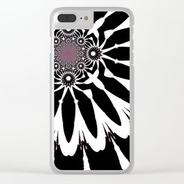 The Modern Flower Black White Pink Clear iPhone Case