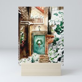 Christmas front porch Mini Art Print