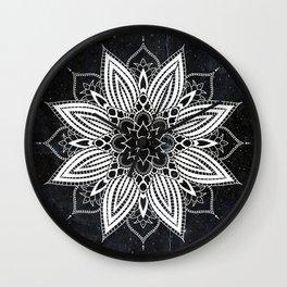 Flower Mandala in the Stars Wall Clock