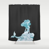 little mermaid Shower Curtains featuring Mermaid by Skeleton Jack