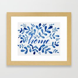 Watercolor home foliage - blue Framed Art Print