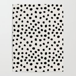 Preppy brushstroke free polka dots black and white spots dots dalmation animal spots design minimal Poster