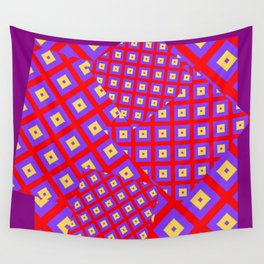 RED PURPLE CREAM MODERN SQUARES ART Wall Tapestry