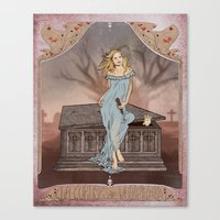 buffy Canvas Prints featuring Boticelli/Art Nouveau Buffy by Nana Leonti