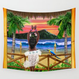 Hawaiian Sunset Hula Dancer Wall Tapestry