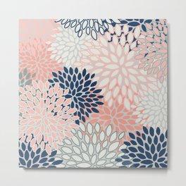 Festive, Modern, Floral Prints, Pink, Navy, Gray Metal Print