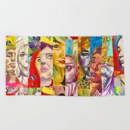Female Faces Portrait Collage Design 1 Beach Towel