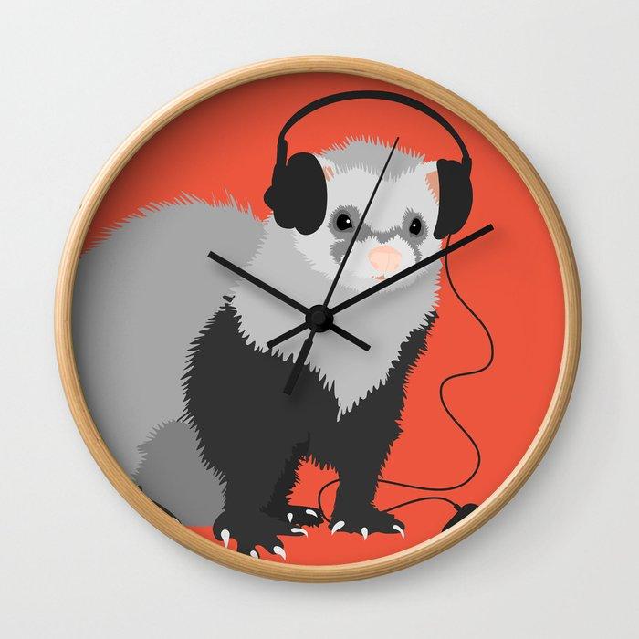 Music Loving Ferret Wall Clock