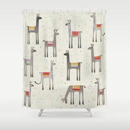 Llamas in the Meadow Shower Curtain
