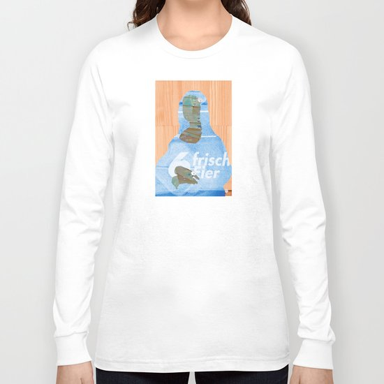 Mona Lisa - 6 eggs WoodCut Collage Long Sleeve T-shirt