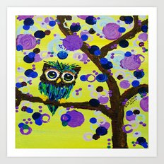 :: Gemmy Owl in the Jewel Tree :: Art Print