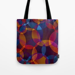 Abstract soap made of cosmic transparent blue circles and orange bubbles on a dark background. Tote Bag