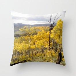 Bursting aspen with building storms Throw Pillow