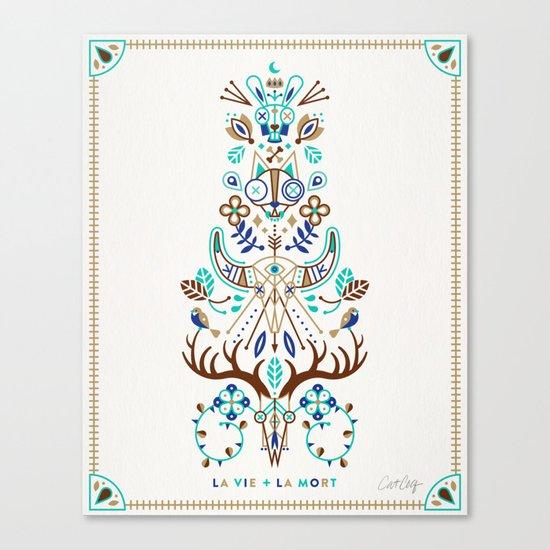 La Vie & La Mort – Turquoise and Brown Canvas Print