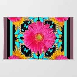 Western Black & Puce Pink Flower Blue Butterfly Yellow Floral Art Rug