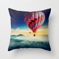 hot air balloons Throw Pillows featuring Hot Air Balloons by EclipseLio